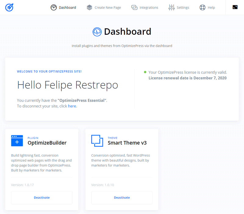 Dashboard de OptimizePress 3.0 Landing Page