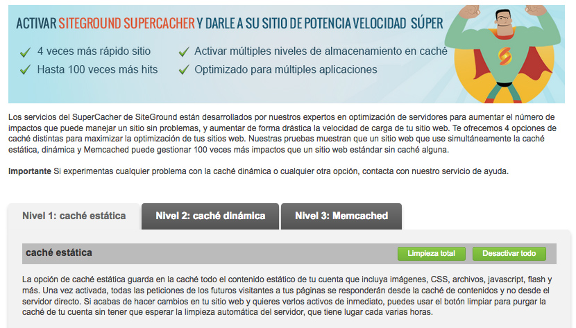 configuracion plugin supercacher de siteground