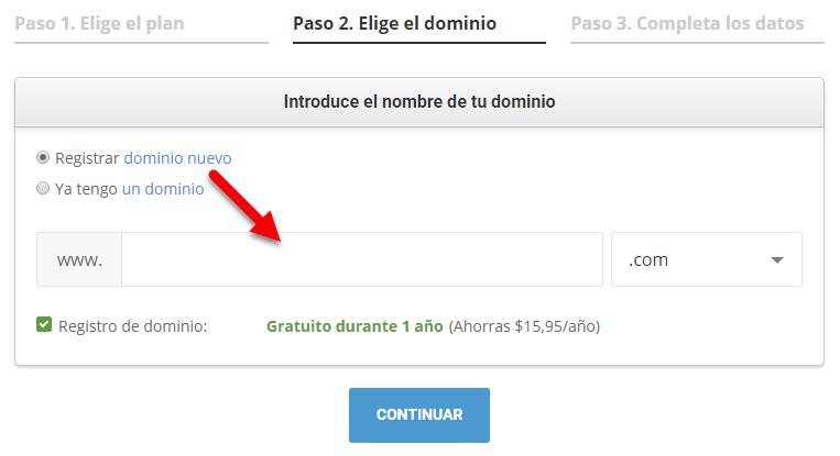 eligiendo un dominio en siteground
