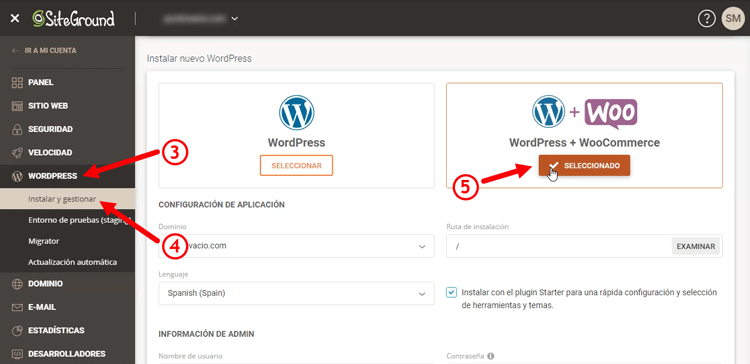 instalando wordpress y woocommerce en siteground